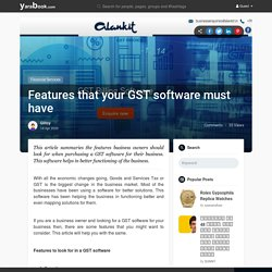 Features that your GST software must have