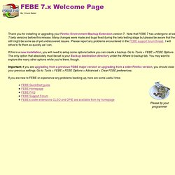 FEBE 7.0 Welcome Page