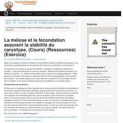 La méiose et la fécondation assurent la stabilité du caryotype. (Cours) (Ressources) (Exercice)