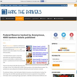 Federal Reserve hacked by Anonymous, 4000 bankers details published