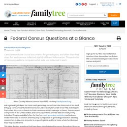 Federal Census Questions at a Glance