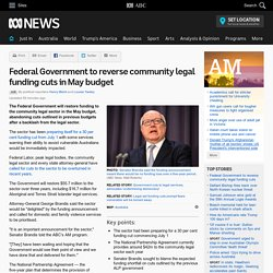 Federal Government to reverse community legal funding cuts in May budget