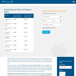 Federal Bank Fixed Deposit Rate, Federal Bank FD Interest Rate