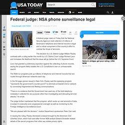 N.Y. judge rules NSA phone surveillance is legal