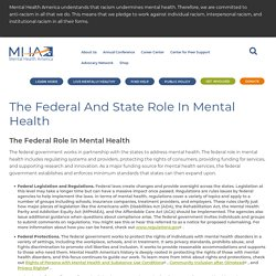 The Federal and State Role in Mental Health