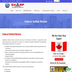 Federal Skilled Worker Immigration Canada