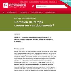 Combien de temps conserver ses documents? – Fédération romande des consommateurs
