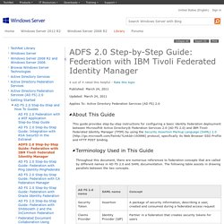 ADFS 2.0 Step-by-Step Guide: Federation with IBM Tivoli Federated Identity Manager