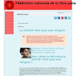 Fédération nationale de la libre pensée - La laïcité n'est pas une religion