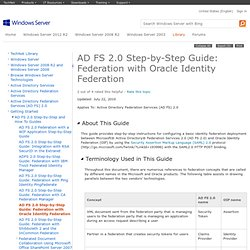 AD FS 2.0 Step-by-Step Guide: Federation with Oracle Identity Federation