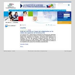 Fédération de la Formation Professionnelle Pages internes Actualités