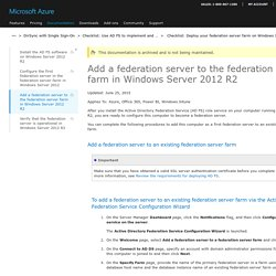 Add a federation server to the federation server farm in Windows Server 2012 R2