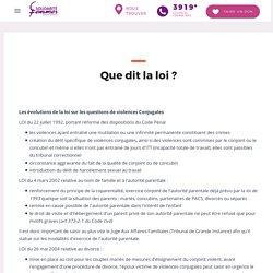 Que dit la loi ? - Fédération Nationale Solidarité Femmes - FNSF