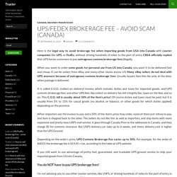 UPS/FedEx Brokerage Fee – avoid scam (Canada)