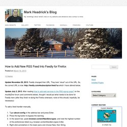 How to Add New RSS Feed Into Feedly for Firefox
