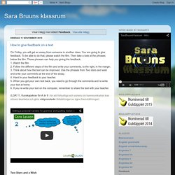 Sara Bruuns klassrum: Feedback