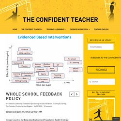 Whole School Feedback Policy - The Confident Teacher