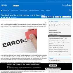 Feedback and Error Correction – Is It Your Job?