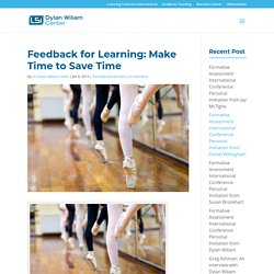 Feedback for Learning: Make Time to Save Time