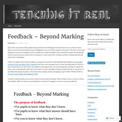 READING- Feedback – Beyond Marking