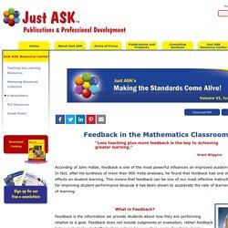 Feedback in the Mathematics Classroom
