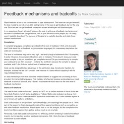 Feedback mechanisms and tradeoffs