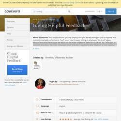 Giving Helpful Feedback - University of Colorado Boulder