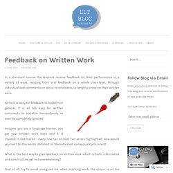 Feedback on Written Work