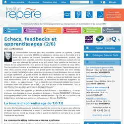 Echecs, feedbacks et apprentissages, pnl