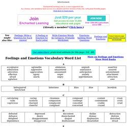 Feelings and Emotions Vocabulary Word List