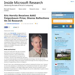 Eric Horvitz Receives AAAI Feigenbaum Prize; Shares Reflections On AI Research - Inside Microsoft Research