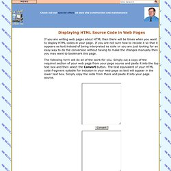 Internet - Displaying HTML Source Code in Web Pages