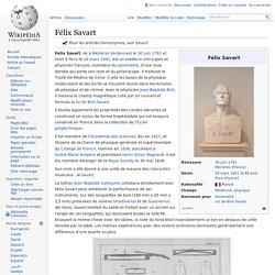 Félix Savart article wikipedia