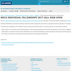 MSCA Individual Fellowships 2017 Call Now Open – International Research Funding