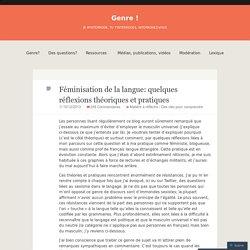 Féminisation de la langue: quelques réflexions théoriques et pratiques