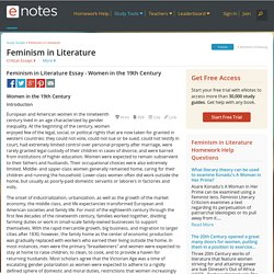 Feminism in Literature Essay - Women in the 19th Century