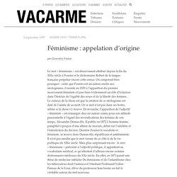 Féminisme : appelation d'origine