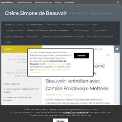 Pour un féminisme incarné dans le sillage de S. de Beauvoir : entretien avec Camille Froidevaux-Metterie – Chère Simone de Beauvoir