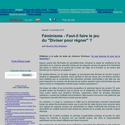 """Féminisme - Faut-il faire le jeu du """"Diviser pour régner""""?"""