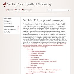 Feminist Philosophy of Language
