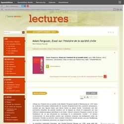 Adam Ferguson, Essai sur l'histoire de la société civile