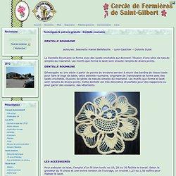 le site du Cercle de Fermières de St-Gilbert - Techniques & patrons gratuits - Dentelle roumaine