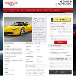 Ferrari 458 Spyder on hire in London, UK