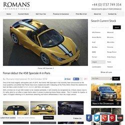 Ferrari 458 Speciale A Debut Paris Motor Show