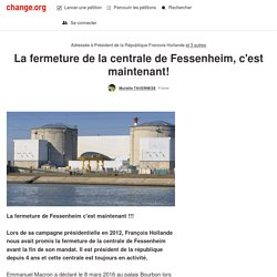 @fhollande La fermeture de la centrale de Fessenheim, c'est maintenant!