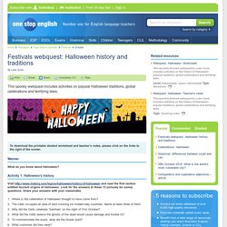 Festivals webquest: Halloween history and traditions