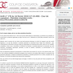 Arrêt n°178 du 14 février 2018 (17-10.499) - Cour de cassation - Première chambre civile - ECLI:FR:CCASS:2018:C100178