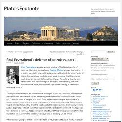 Paul Feyerabend's defense of astrology, part I