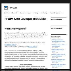 FFXIV ARR Levequests Guide – FFXIV Guild