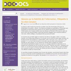 Séances sur la fiabilité de l'information, Wikipedia & les sites Canulars - Doc pour docs